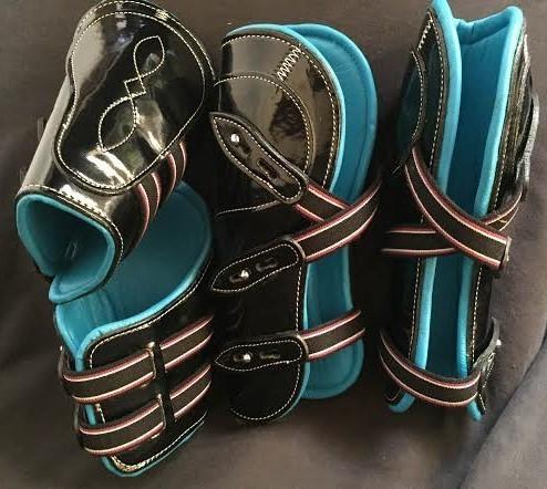 Pinnacle Tendon & Fetlock Boot Set - Black/Turquoise
