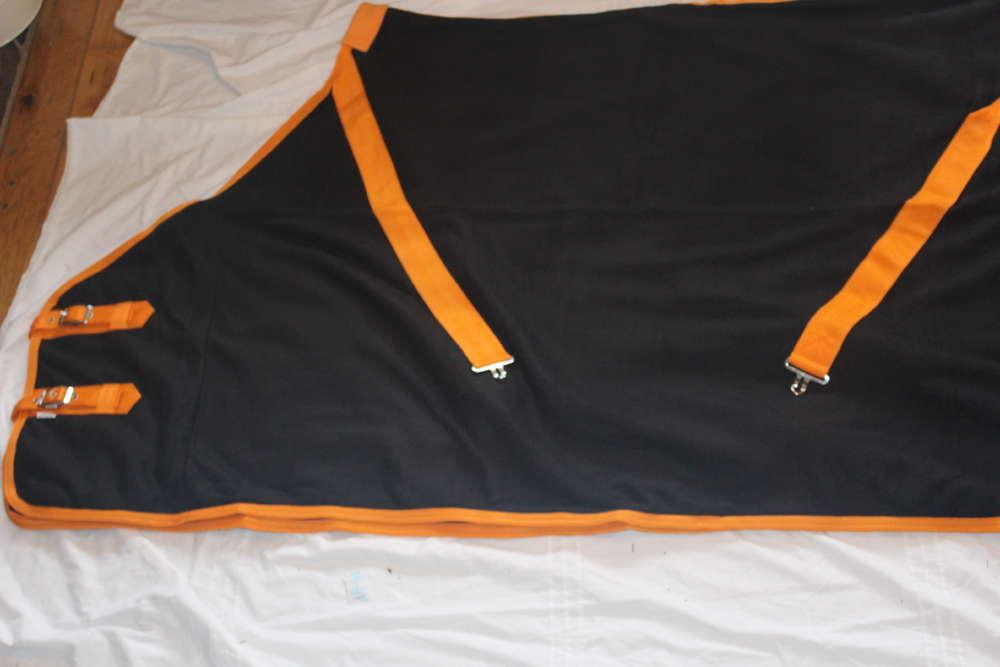 Pinnacle Fleece Rug Black Orange