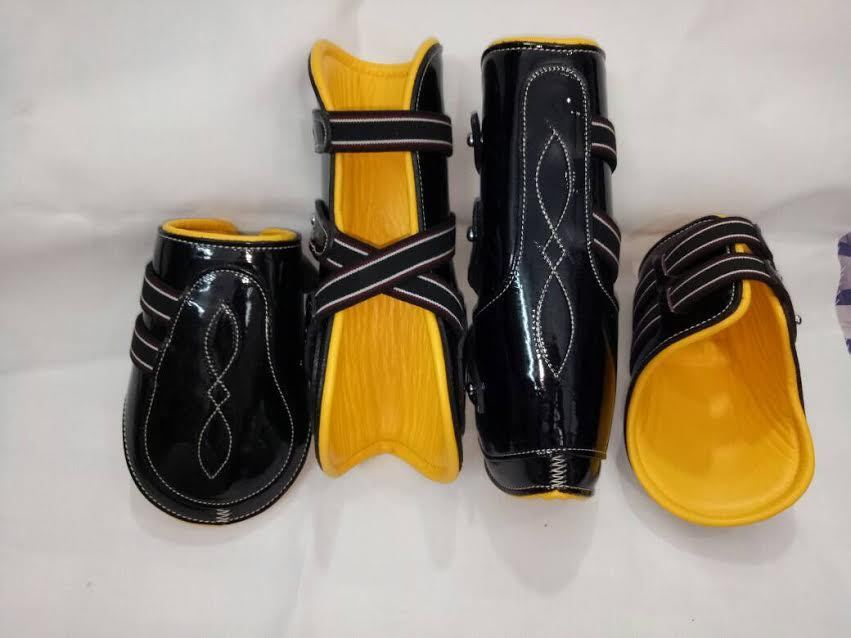 Pinnacle Tendon & Fetlock Boot Set - Black & Yellow