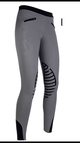 HKM Starlight Riding Leggings with Silicone Knee - Grey/Black