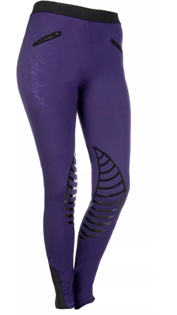 HKM Starlight Riding Leggings with Silicone Knee - Lilac/Black