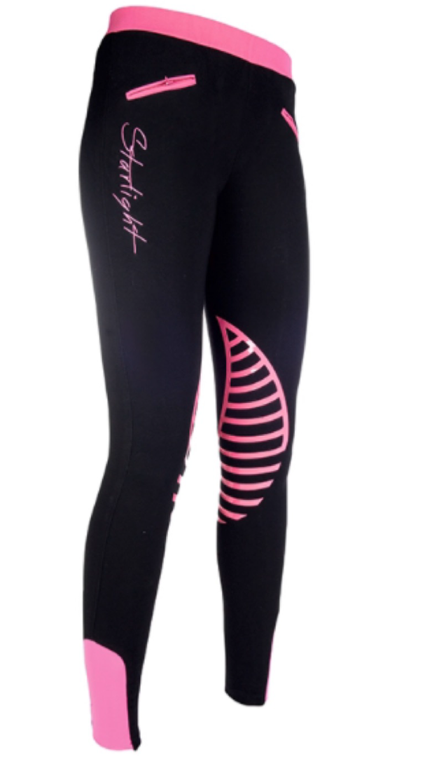 HKM Starlight Riding Leggings with Silicone Knee - Black/Pink