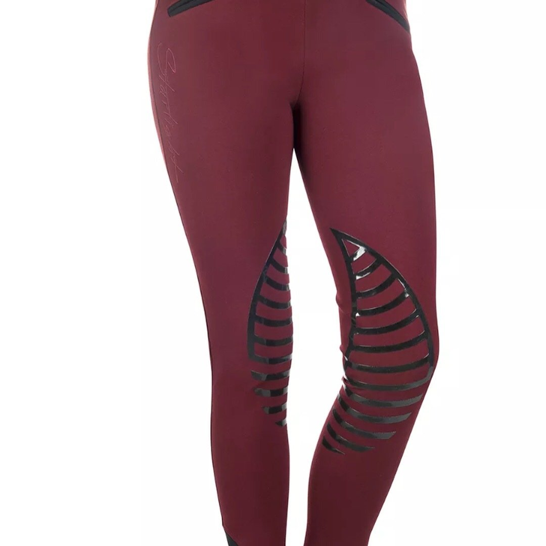 HKM Starlight Riding Leggings with Silicone Knee - Dark Red/Black