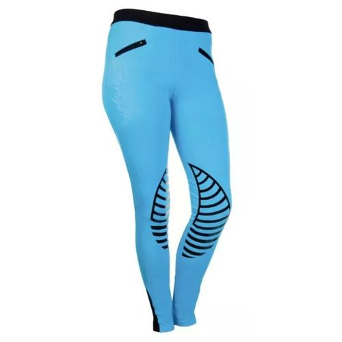 HKM Starlight Riding Leggings with Silicone Knee - Turquoise/Black