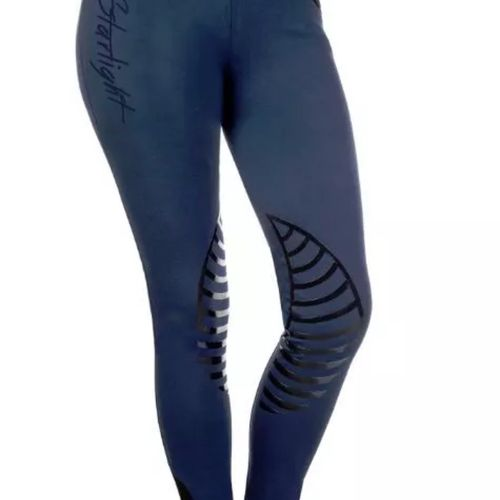 HKM Starlight Riding Leggings with Silicone Knee - Deep Blue/Black