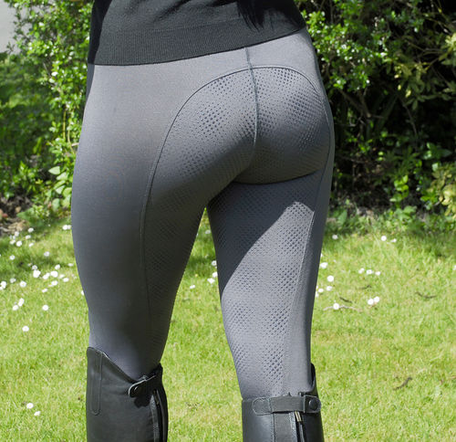 Rhinegold Performance Riding Tights with Full Silicone Seat & Pocket - Grey