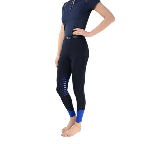 Hy Performance Energise Tights with internal pocket for Phone - Navy/Sky Blue